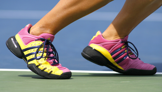 "Oudin's on-court motto is inscribed on her shoes: ""Believe."""