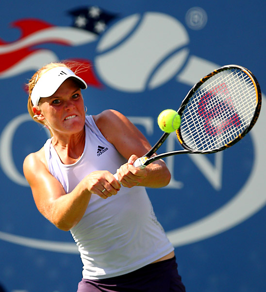 Oudin knocked off three-time Grand Slam champion and former No. 1 Maria Sharapova 3-6, 6-4, 7-5 Saturday to reach the fourth round.