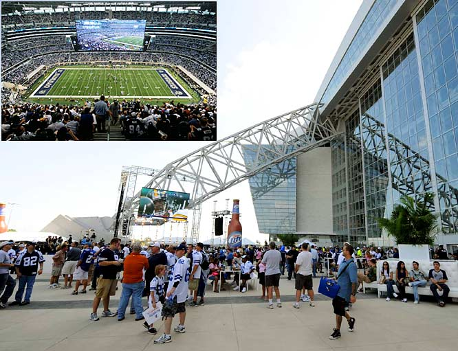 Not sure if you heard, but apparently the Cowboys have a new stadium and, according to NBC, it's supposedly on par with the Pyramids, the Parthenon, the Great Wall of China, the Taj Mahal and the Roman Colosseum. Anyway, the best part of the stadium is that those highly publicized $29 party passes -- which are supposed to prove that the stadium is affordable to everyone -- don't guarantee you a spot inside the stadium. Thousands of angry fans found that out on Sunday night. What? You thought your ticket would get into the stadium? Sorry, welcome to Jerry's World.