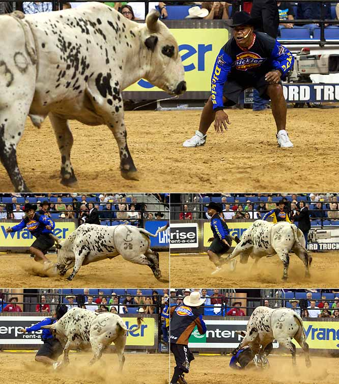 There are several ways to spend your time after retirement, but trying to tackle a bull while at the Professional Bull Rider's Invitational doesn't seem like the most relaxing. Seau learned that the hard way as he was run over by a bull during the event. Thankfully he bounced right back up and showed that he can take a hit as well as he used to deliver them.