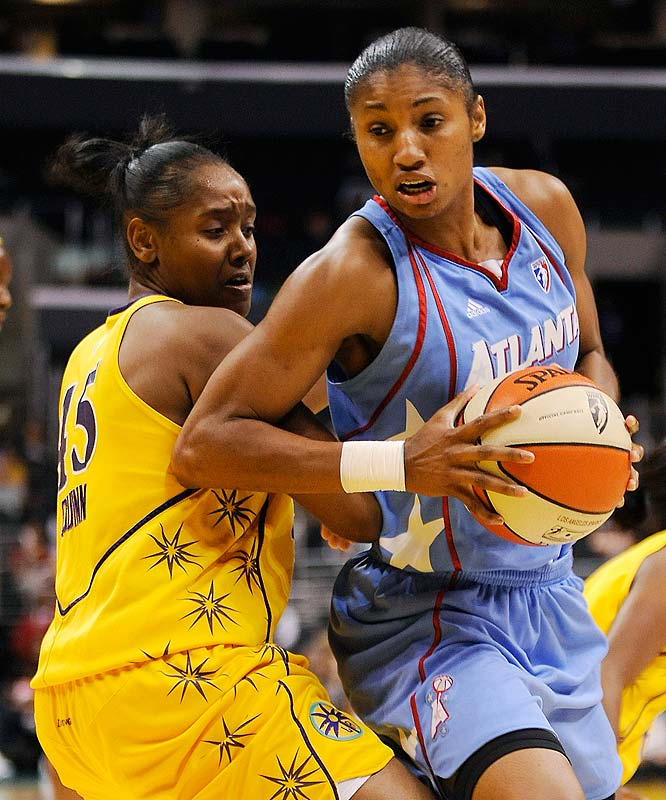 Angel McCoughtry (pictured) clinched her second straight rookie of the month nod last week. In 10 games she placed among the league's top 10 in scoring (17.3 ppg), led all rookies in steals (3.4 spg) and ranked third in rebounds (3.4 rpg) and assists (2.4 apg). More impressively, she has helped Atlanta to wins in six of its last 10 games. That run vaulted the Dream into second place in the East and has them on the verge of securing its first postseason berth in franchise history. <br><br> Coming up: 9/11 vs. Connecticut; 9/12 at Washington
