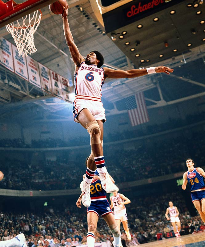 Walt Bellamy, Julius Erving (pictured), Dan Issel, Ann Meyers, Dick McGuire, Calvin Murphy, Uljana Semjonova.   Meyers was a female player who overshadowed her pro brother long before Cheryl did it to Reggie. Issel's missing front teeth showed he was the consummate hustle guy. Murphy planted a tall flag for short players. McGuire, the Knicks' playmaker, is one of the only two brothers -- with Marquette coach Al (1992) -- to be enshrined. Bellamy proved this is a young person's game, getting to Springfield largely on his '60 Olympics role and first five tremendous NBA seasons. Then there was Erving, the ABA-NBA ambassador and aerialist link from Baylor to Jordan.