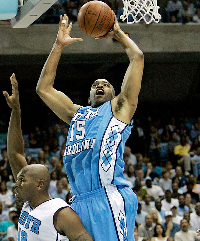 Vince Carter shoots over Jerry Stackhouse, who decides to box out instead of playing defense.