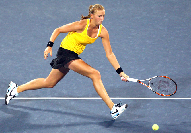 Pushed off the main U.S. Open stadium court because of time concerns, Kvitova, ranked 72nd, upset Safina 6-4, 2-6, 7-6 (5). Safina lost three match points in the third set.