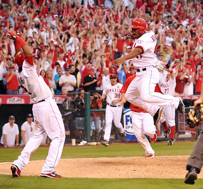Howie Kendrick scored the game winner in the 11th on a two-out double by Jeff Mathis.
