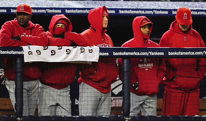 The Angels endured chilly weather throughout Games 1 and 2 in New York.