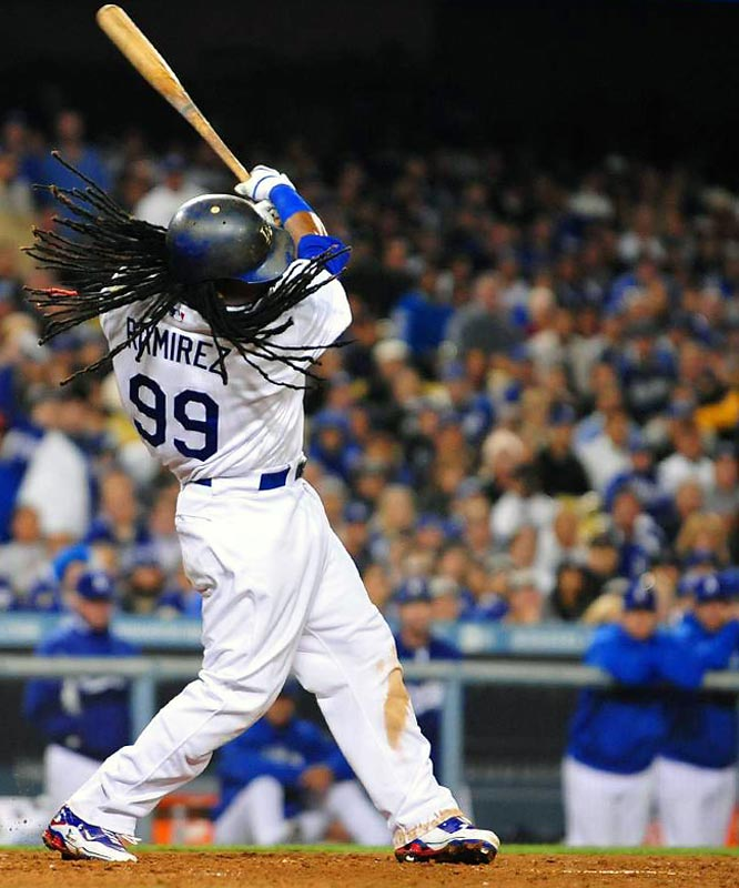 Manny Ramirez went one for four from the plate.
