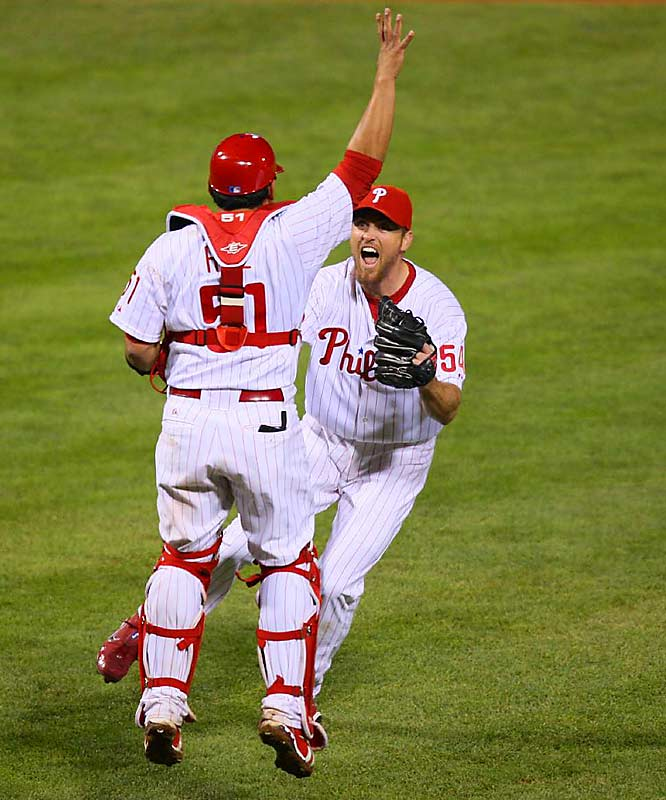 Brad Lidge closed out the game and began the celebration with catcher Carlos Ruiz.