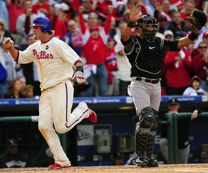Jayson Werth scores the first run of the game for the Phillies on Raul Ibanez's fifth-inning double.