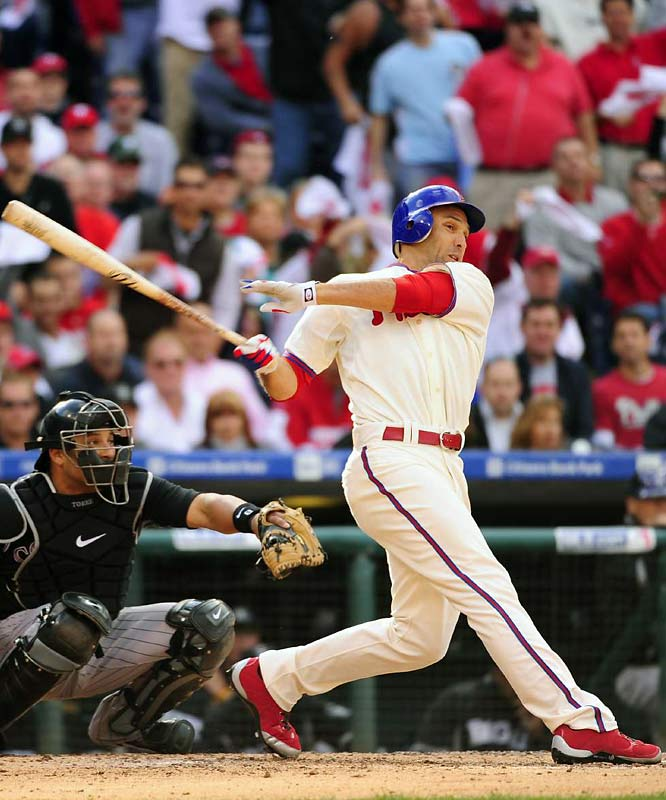 Raul Ibanez went 2-for-4 with two RBIs for the Phillies, who piled up 12 hits and scored five runs against Rockies starter Ubaldo Jimenez.