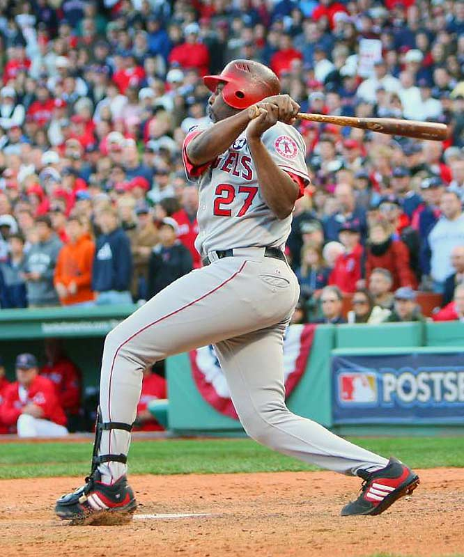 Vladimir Guerrero hits his game-winning RBI single in the ninth.