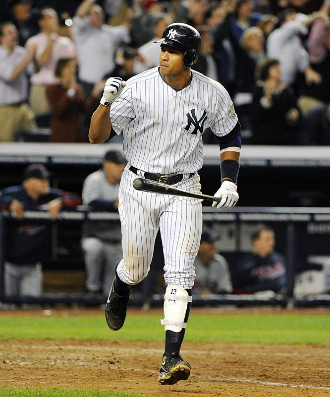 Alex rodriguez after his 9th inning home run off Twins closer Joe Nathan.