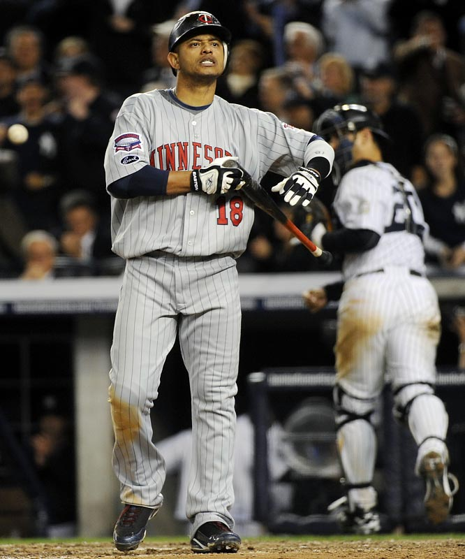Orlando Cabrera reacts after striking out in the 7th inning.
