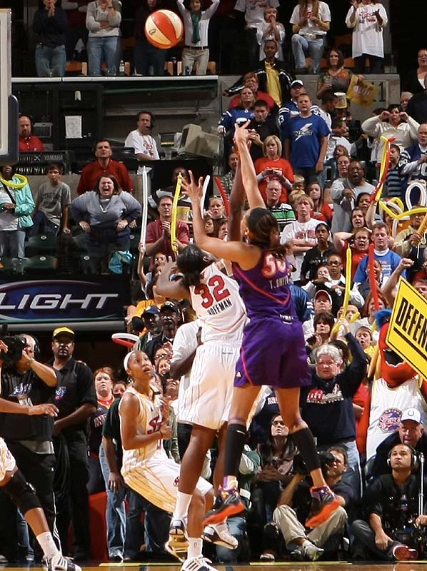 Ebony Hoffman saved the day for the Fever. After giving her team a one-point lead with 57 seconds left, she blocked Tangela Smith's potential game-winner with a second remaining to help Indiana take a one game lead.