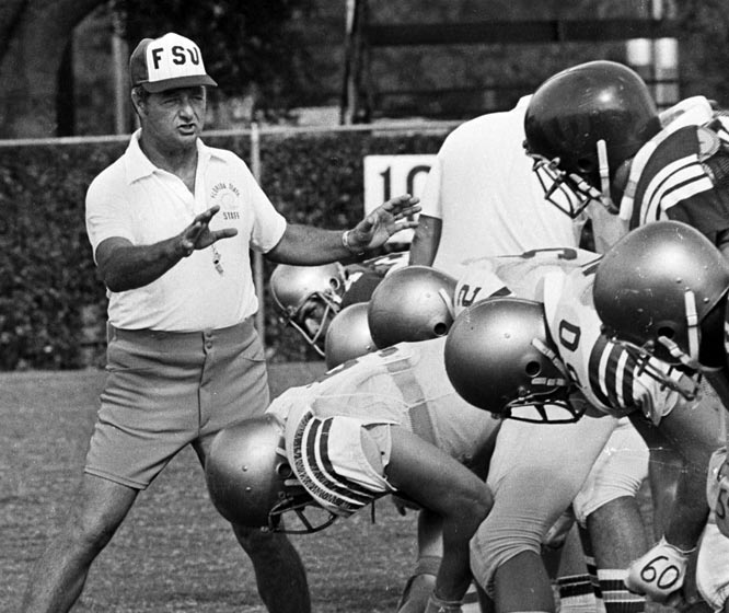 Bobby Bowden prepares his team during his first season as Seminoles head coach.