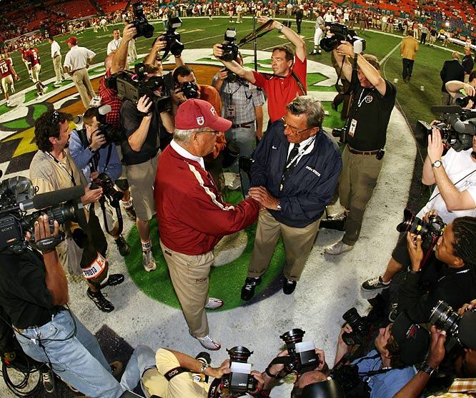 Bobby Bowden shakes hands with another legend, Penn State coach Joe Paterno, before a game.