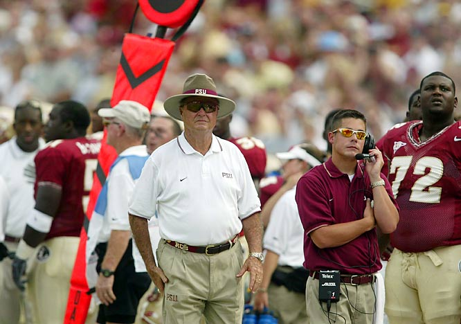 Bobby Bowden, wearing his trademark straw fedora, takes in the action during a game against Colorado.