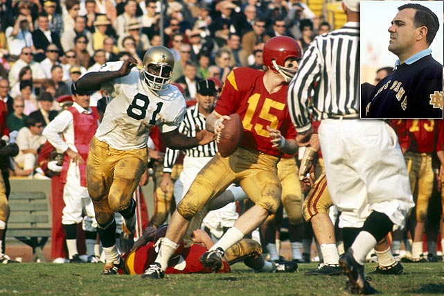"""Two years later Parseghian (left) and the Irish again stride into the Coliseum 9-0 and ranked No. 1 (a controversial top ranking, this being one week after the infamous 10-10 tie in East Lansing). The Golden Domers render any """"Who's No. 1?"""" talk moot by giving the Trojans the worst spanking in school history. Afterward, USC coach John McKay vowed never to lose to Notre Dame again (he would go 8-1 thereafter)."""