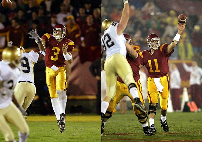 Trojan quarterbacks Carson Palmer (in '02) and Matt Leinart (left, in '04) cement their Heisman Trophy bids with spectacular games in blowout wins on national tv. Palmer tossed for 425 yards (at the time the most ever allowed by ND) and four TDs. Two years later Leinart threw for 400 yards and five TDs in his marquee performance.