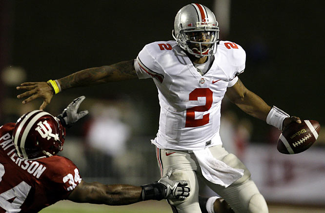 Terrelle Pryor threw three touchdown passes and rushed for another score in the victory over Indiana.He finished 16 of 27 for 159 yards and rushed 16 times for 63 yards.