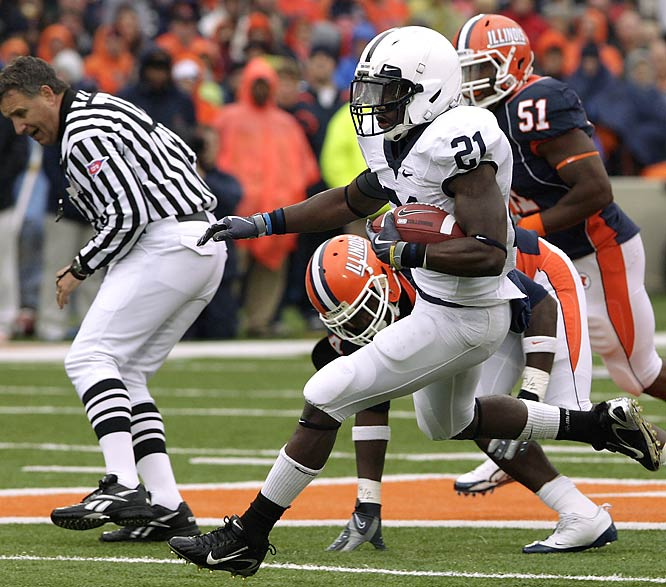 The Nittany Lions battered the Illini with 338 yards rushing on a wet, windy, 50-degree day. Running backs Stephfon Green (left) and Evan Royster each topped 100 yards - Green with 120 yards on 13 carries and Royster with 17 rushes for 105.