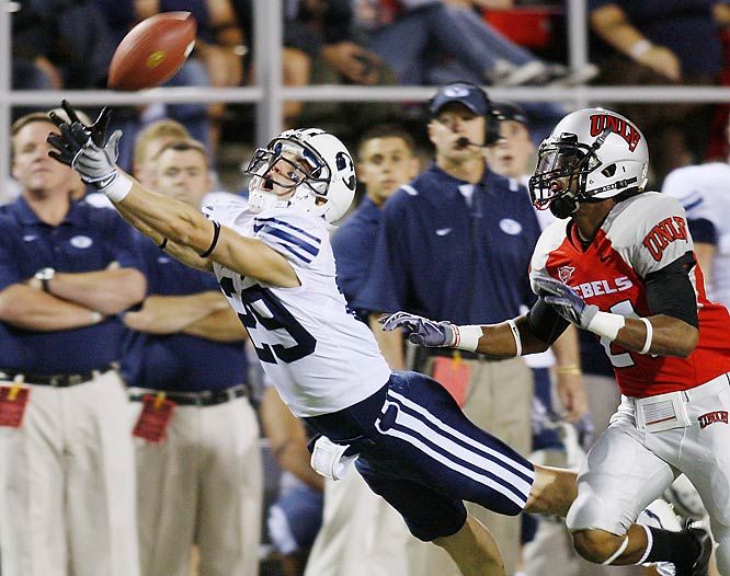 Luke Ashworth was one of nine Cougars who caught a pass in BYU's 28-point win over the Rebels. Harvey Unga had three TD runs and quarterback Max Hall fired two scoring passes.