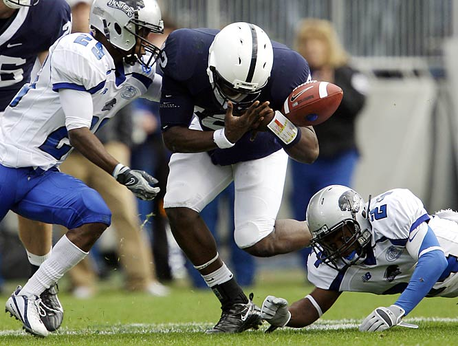 Highly touted freshman backup quarterback Kevin Newsome got on the field in the second half of the Nittany Lions 49-point victory. Though he  fumbled on this play, he did score on a nine-yard run as Penn State enjoyed its highest point total since a 55-13 blowout of Syracuse in September 2008.