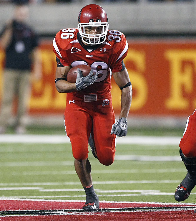 The aptly named Eddie Wide bursts through a gigantic hole, on his way to 119 total yards (111 rushing) and one touchdown against the Rebels. Next week, Utah tangles with MWC foe Air Force.