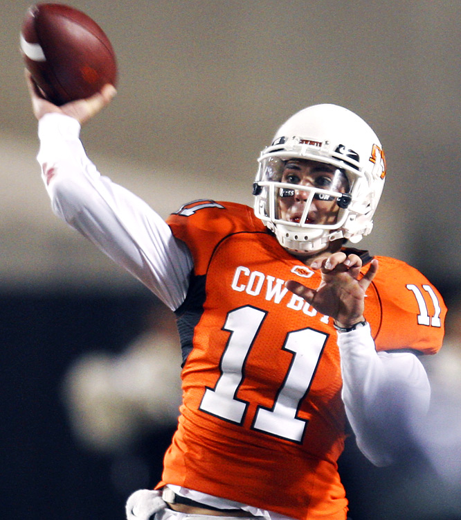Oklahoma State quarterback Zac Robinson produced 266 yards (227 passing) of total offense against Mizzou, while tallying one TD pass. The 5-1 Cowboys have a date with Baylor next week before No. 3 Texas visits Stillwater on Halloween.