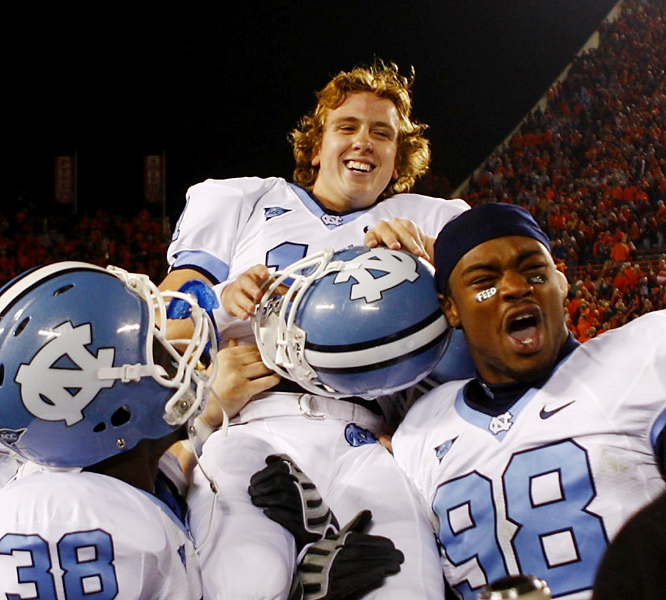 Casey Barth is all smiles as he's carried off the field after his 21-yard field goal as time expired lifted the Tar Heels in a key ACC road win. Barth also connected on a 19-yard field goal -- which finished off a 16-play, 78-yard dirve -- with 2:52 to play to tie the game.