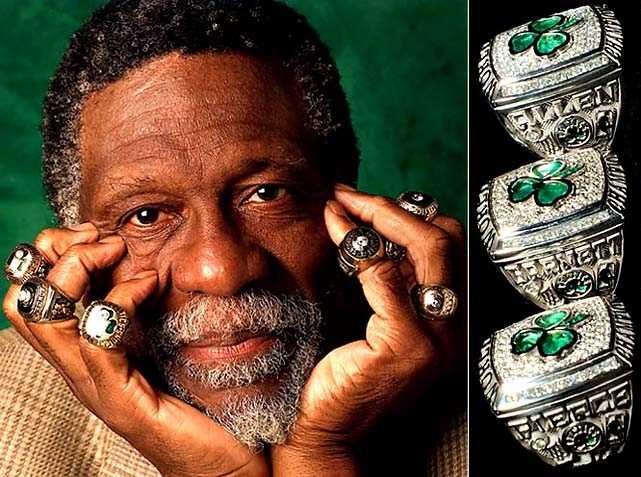 Bill Russell,a five-time MVP and twelve-time All-Star, was the centerpiece of the Celtics dynasty that won eleven NBA Championships during Russell's thirteen-year career.<br><br>Also displayed are the 2008 Championship rings of Ray Allen, Kevin Garnett and Paul Pierce, whose Celtics team won a best-of-seven series 4-2 over the franchise's longtime rival, the Los Angeles Lakers.