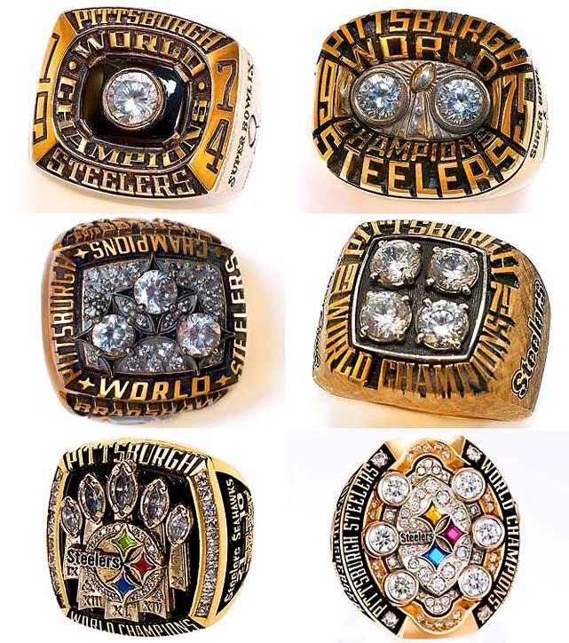 <i>Top row, from left:</i><br>1974 team, Super Bowl IX (Steelers 16, Vikings 6)<br>1975 team, Super Bowl X (Steelers 21, Cowboys 17)<br><i>Middle row, from left:</i><br>1978 team, Super Bowl XIII (Steelers 35, Cowboys 31)<br>1979 team, Super Bowl XIV (Steelers 31, Rams 19)<br><i>Bottom row, from left:</i><br>2005 team, Super Bowl XL (Steelers 21, Seahawks 10)<br>2008 team, Super Bowl XLIII (Steelers 27, Cardinals 23)