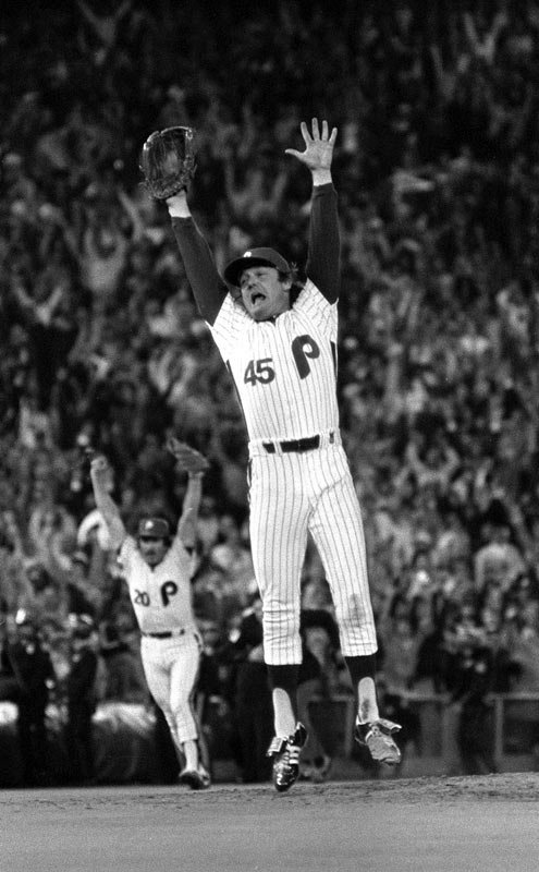 One of the most iconic photos in Philadelphia sports history -- Tug McGraw leaps into the air after striking out Willie Wilson to give the Phillies a World Series victory.