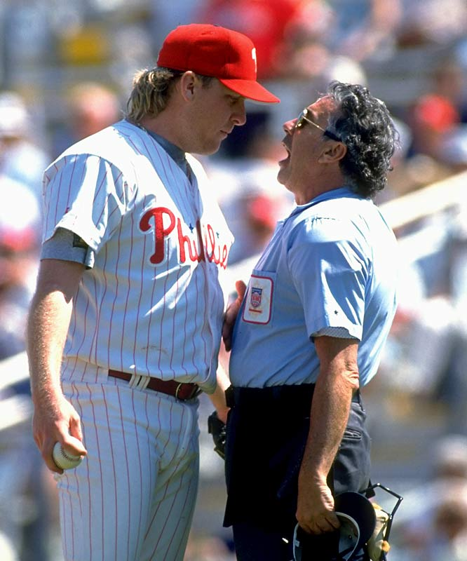 Curt Schilling argues with an umpire during a spring training game against the Cubs.