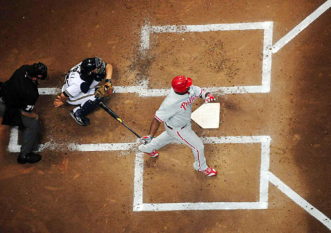 An overhead view of Ryan Howard during an at bat against Milwaukee during the NLDS.