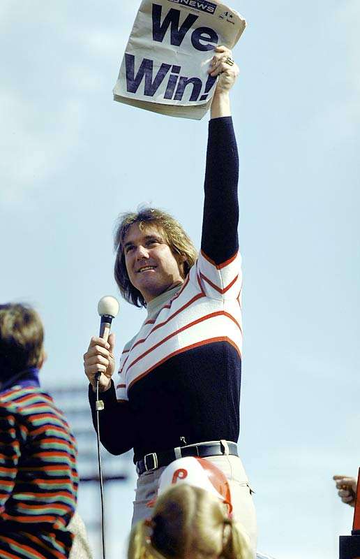 Tug McGraw celebrates with Philly fans during a victory rally at JFK Stadium.
