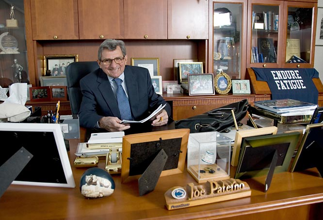Paterno sits at his desk on the Penn State campus.