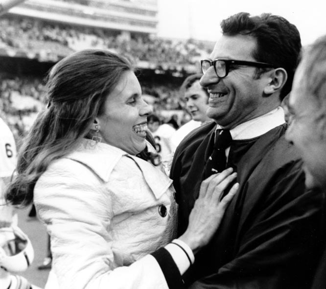 Paterno is embraced by his wife, Sue, following Penn State's 30-6 victory over Texas in the 1972 Cotton Bowl.