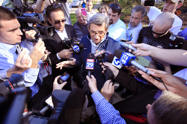 Paterno speaks to reporters about the scandal.