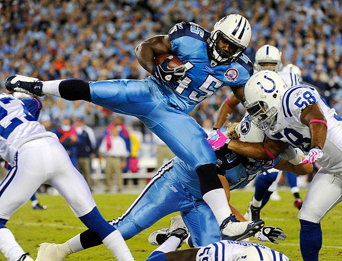 Tennessee fullback Ahmard Hall carries the ball against the Colts during the Titans loss Sunday night.