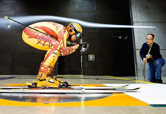 Jan Hudec, a member of Canada's national alpine ski team, does a wind test in the world's largest wind tunnel at the the General Motors aerodynamics laboratory in Warren, Michigan on Oct. 24.