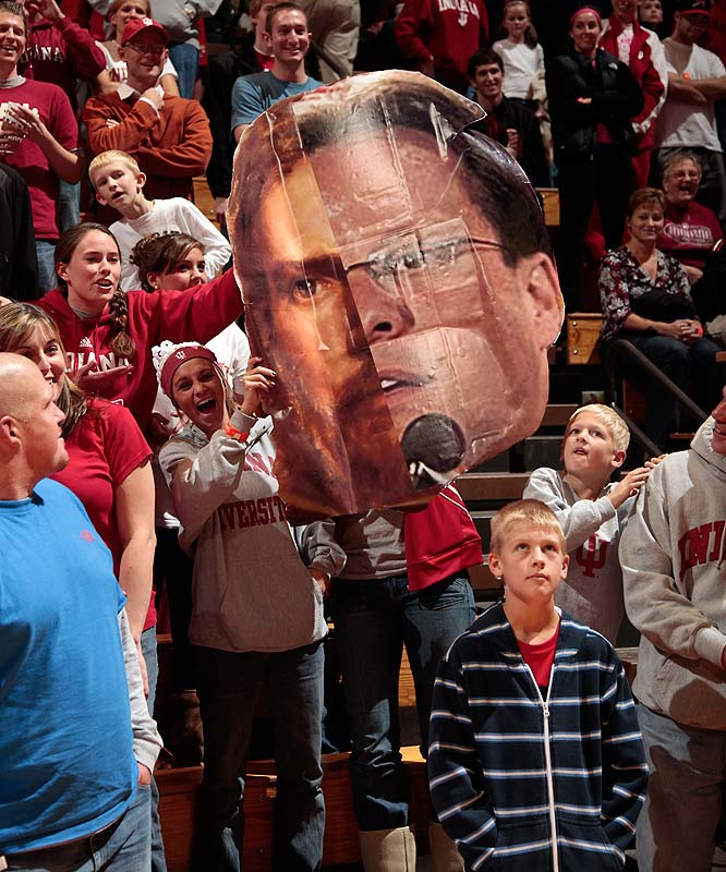 The Hoosiers began their season with a bang.  Fans brought posters cheering on their favorite team, including this one, which spliced Jesus' face with head coach Tom Crean's.