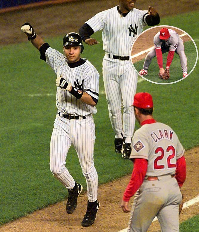The Rangers won the first game of the 1996 ALDS and took an early lead in Game 2, but the Yankees rallied to tie the latter contest, forcing extra innings. Facing future Yankee Mike Stanton, rookie Derek Jeter led off the bottom of the 12th with a single and moved to second on a walk to Tim Raines. After a pitching change, Charley Hayes attempted to bunt the runners up, but Rangers' third baseman Dean Palmer (inset) threw wild to first base, allowing Jeter to score the winning run. It was the first postseason win of Joe Torre's career. The Rangers never won another game against the Yankees in that or two subsequent playoff series.