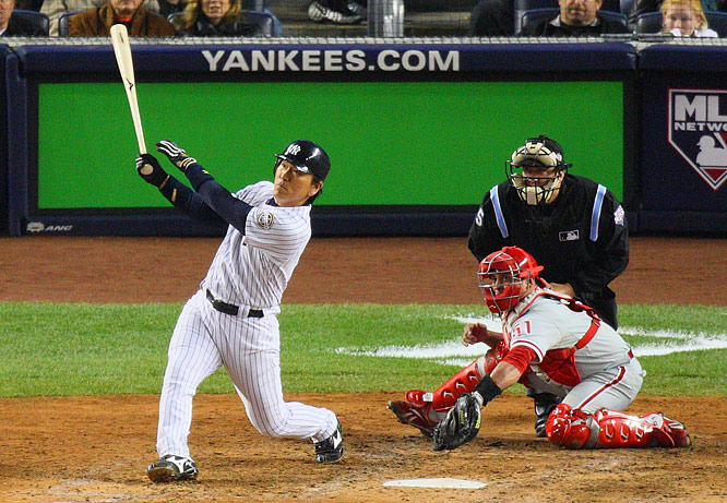 Hideki Matsui drilled a 1-2 pitch for a homer in the sixth inning to give the Yankees their first lead in this World Series.