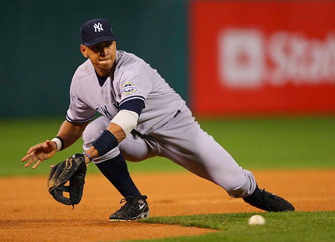 Alex Rodriguez misplayed the hop on this ball and committed a throwing error later in the game.
