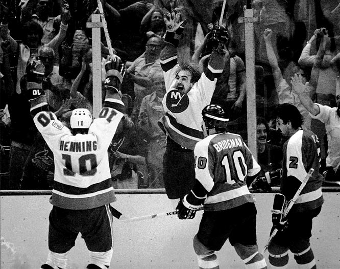 In 1980, the Islanders won the Stanley Cup in the first of four straight upsets over the Flyers.  The Islanders won the sixth game of the 1980 series after Bobby Nystrom scored in overtime, leading the Islanders to a 5-4 victory.