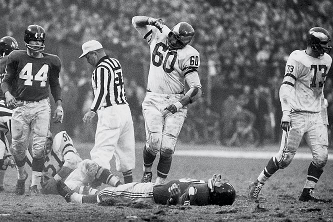 "The Eagles' Chuck Bednarik will be remembered for for many things -- he was one of the last ""Sixty-Minute Men;"" he was named All-Pro eight times; he tackled fellow Hall of Famer and Giants player Frank Gifford so hard in 1960 that Gifford took 18 months to recover from the injury."