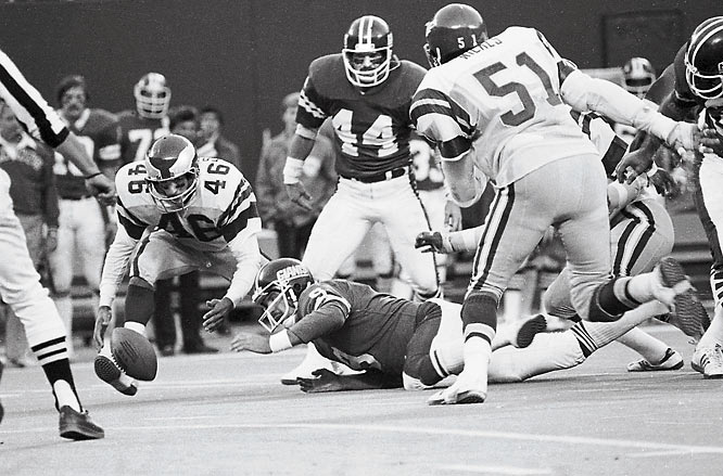 The Miracle at the Meadowlands in 1978 is a defining moment in one of the greatest NFL rivalries of all time.  With 20 seconds left, Herman Edwards returned Joe Pisarcik's fumble for an Eagles 19-17 victory.