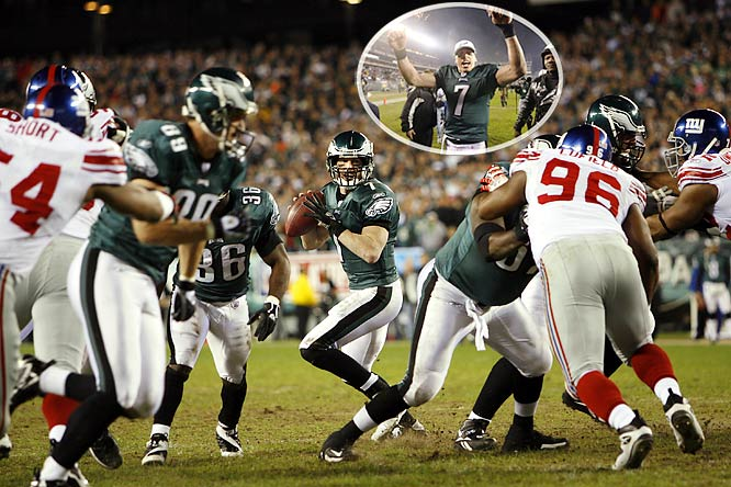 In January 2007, the Eagles defeated the Giants in overtime of a wild-card playoff game.  With Jeff Garcia at the helm, the Eagles won their sixth straight game in a 23-20 victory over their rivals.