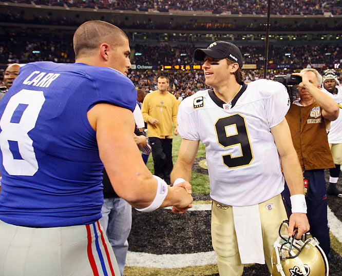 Former Houston starter and current Giants backup David Carr paid his respect after Brees completed 23 of 30 passes for 369 yards against New York.